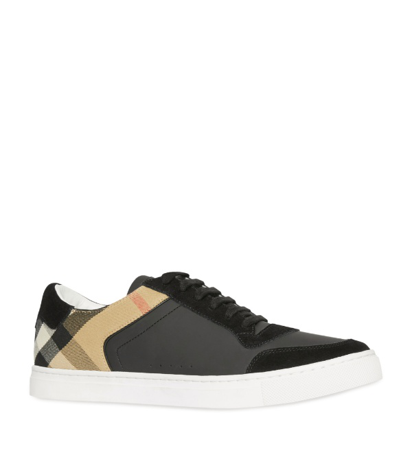 Burberry Reeth House-check Leather And Suede Trainers In Black