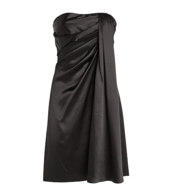 Dolce & Gabbana Strapless Draped Stretch-satin Mini Dress In Black