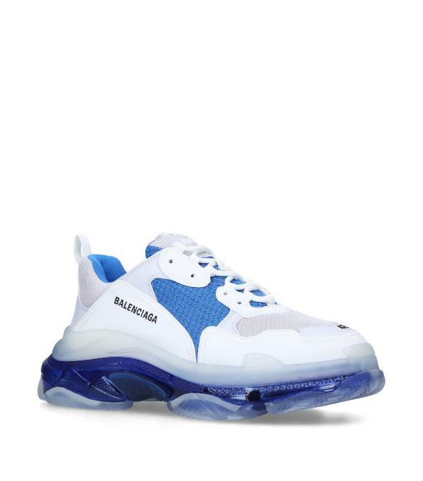 Balenciaga Triple S Clear Sole Low Top Sneaker White/blue/grey In White ,blue