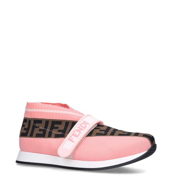 Fendi Kids Ff Love Woven Slip-on Sneakers In Pink
