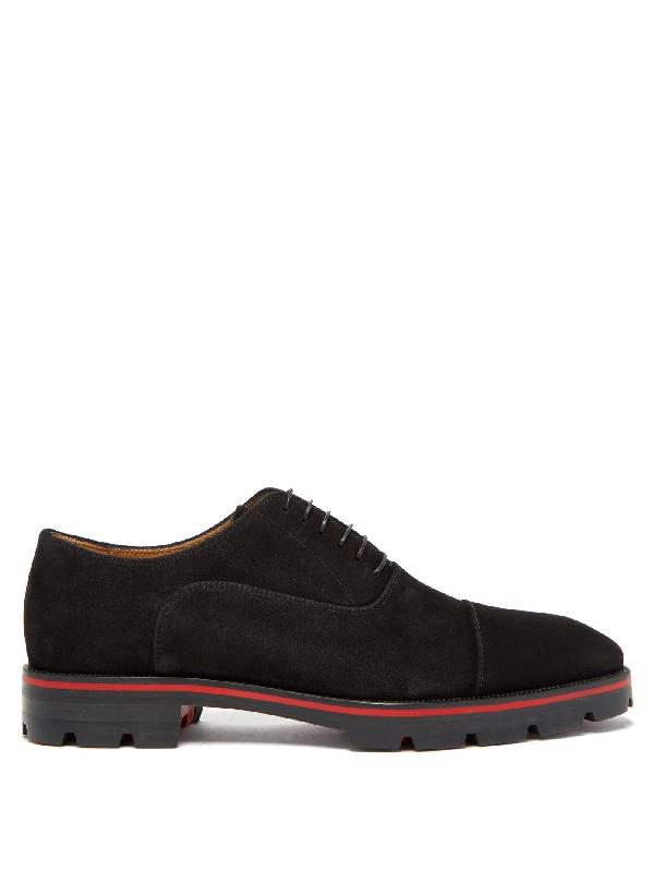 Christian Louboutin Hubertus Cap-toe Suede Oxford Shoes In Black