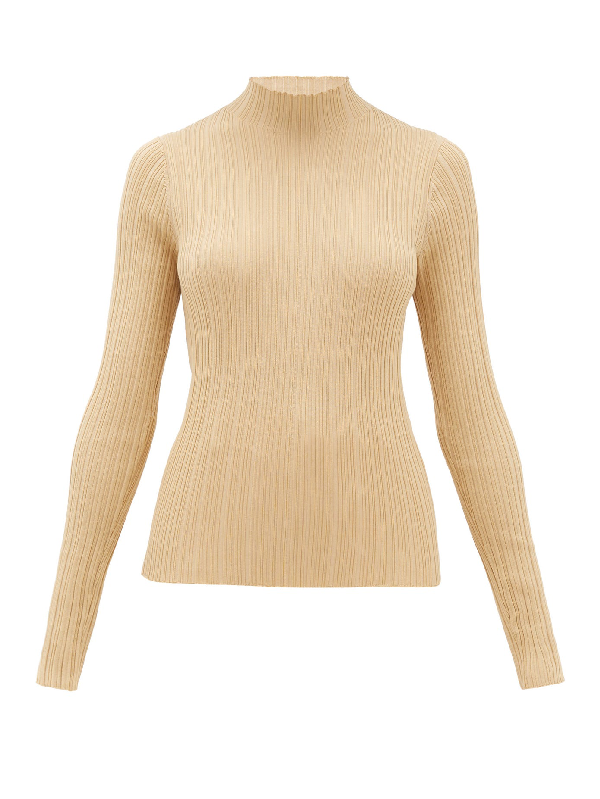 Acne Studios Katina High-neck Ribbed Cotton-blend Sweater In Sand Beige