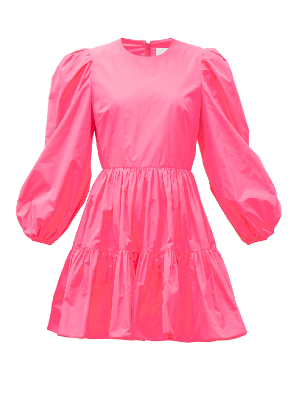 Valentino Techno Puff-sleeve Tiered Taffeta Mini Dress In Pink
