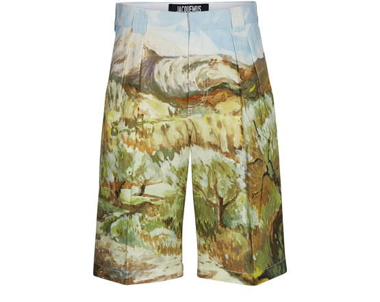Jacquemus Printed Cotton & Linen Bermuda Shorts In Green