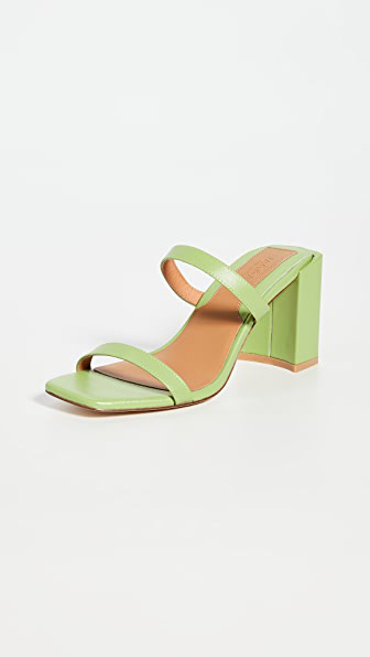 Jaggar Square Heel Sandals In Lime Green