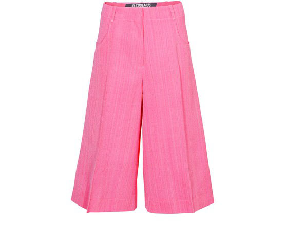 Jacquemus Le Short D'homme Pleated Silk-blend Culottes In Pink