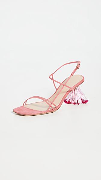 Jacquemus Pink Les Sandales Raphia 70 Tassel Suede Sandals