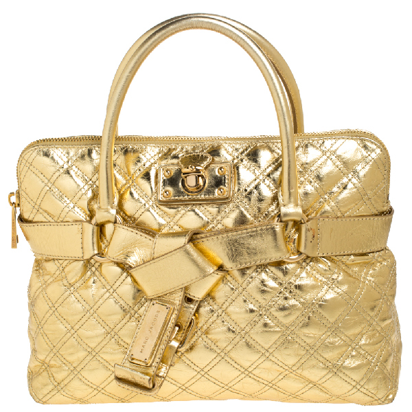 Marc Jacobs Gold Quilted Leather Bruna Belted Tote