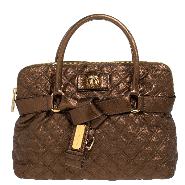 Marc Jacobs Metallic Bronze Quilted Leather Bruna Bow Satchel In Brown