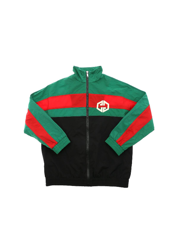 Gucci Green, Red And Black Kids Windbreaker With Double Gg