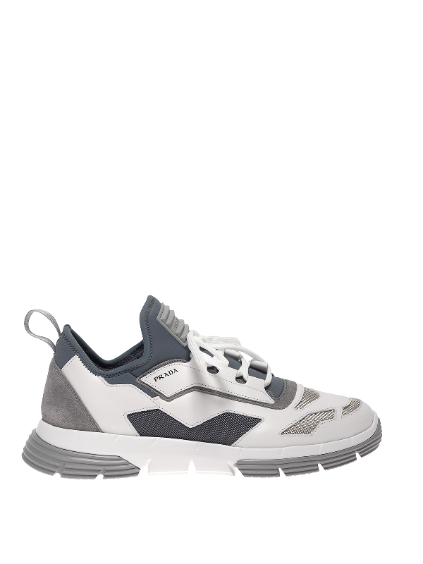 Prada Sneakers With Textured Details In White And Grey In White,grey