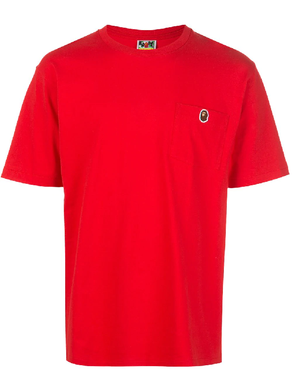 Bape One Point Pocket T-shirt In Red