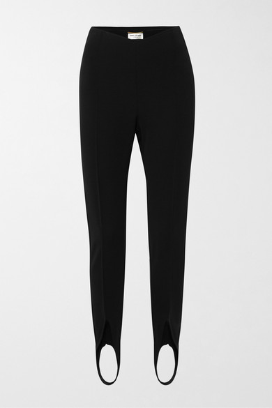Saint Laurent High-rise Split-front Jersey Leggings In Black