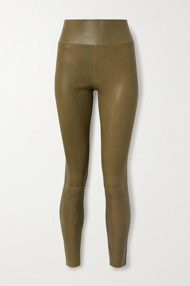 Sprwmn Leather Leggings In Army Green