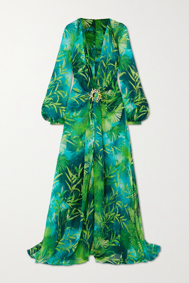 Versace Crystal-embellished Printed Silk-chiffon Gown In Green
