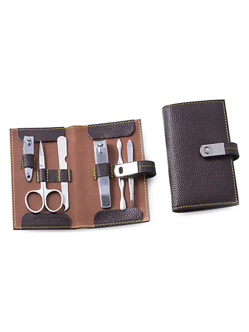 Bey-berk 7-piece Leather & Stainless Steel Manicure Set In Brown