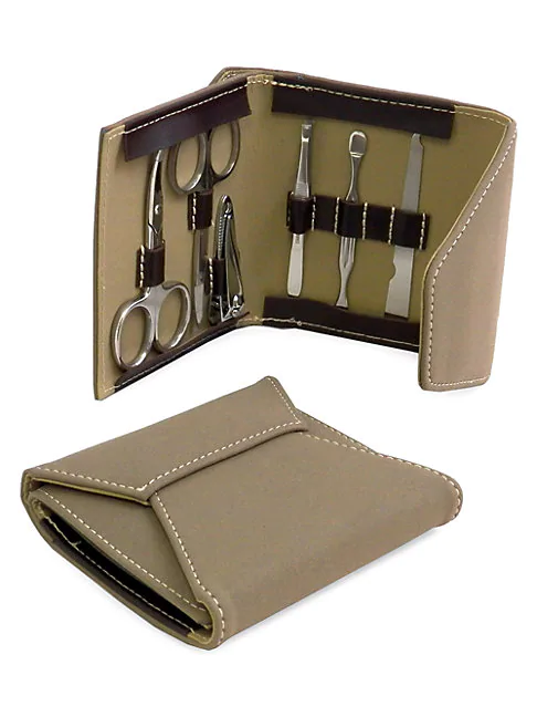 Bey-berk 7-piece Manicure & Suede Travel Case Set