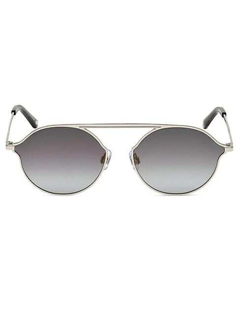 Web 57mm Round Metal Sunglasses In Pewter