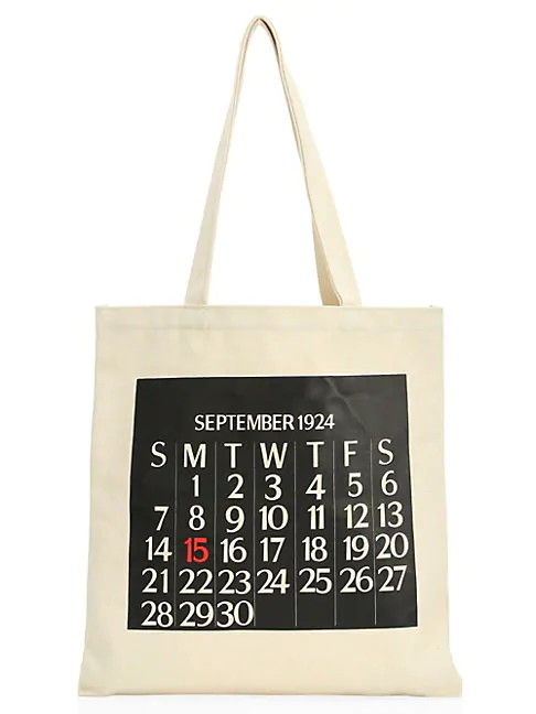 Saks Fifth Avenue Calendar Canvas Tote Bag In White