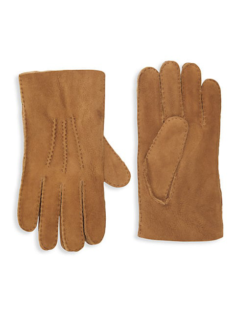 Portolano Shearling-lined Leather Gloves In Whisky