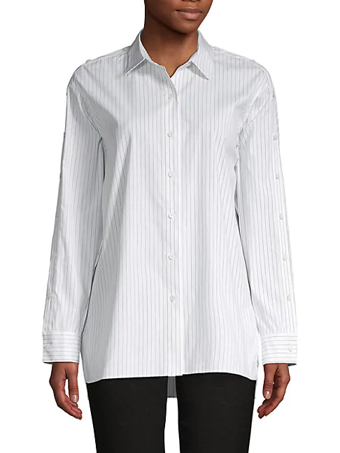 Lafayette 148 Trinity Striped Cotton Blouse In White Black