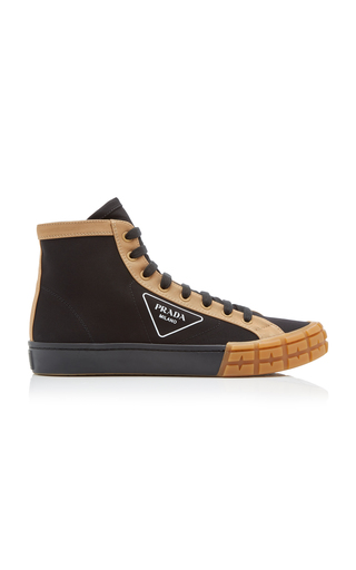 Prada Two-tone Gabardine High Top Sneakers In Nero Kaki