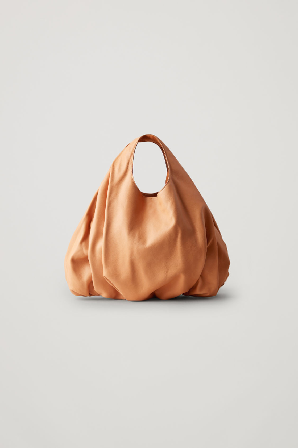 Cos Small Gathered Leather Bag In Beige