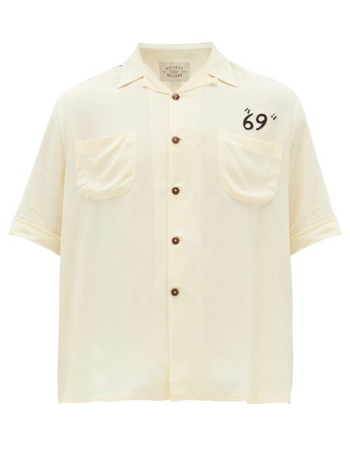 Holiday Boileau Camp-collar Embroidered Poplin Shirt In Yellow