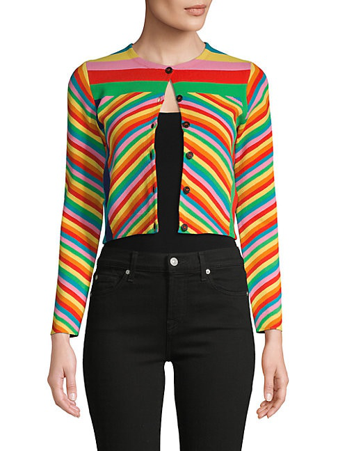 Valentino Rainbow Stripe Cropped Cardigan In Multicolor