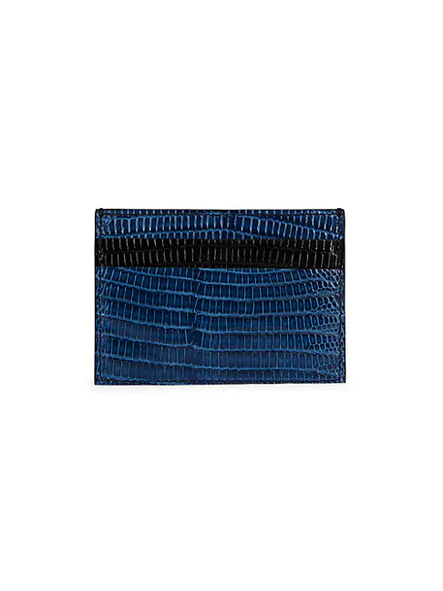 Versace Tejus Embossed Leather Card Holder In Navy