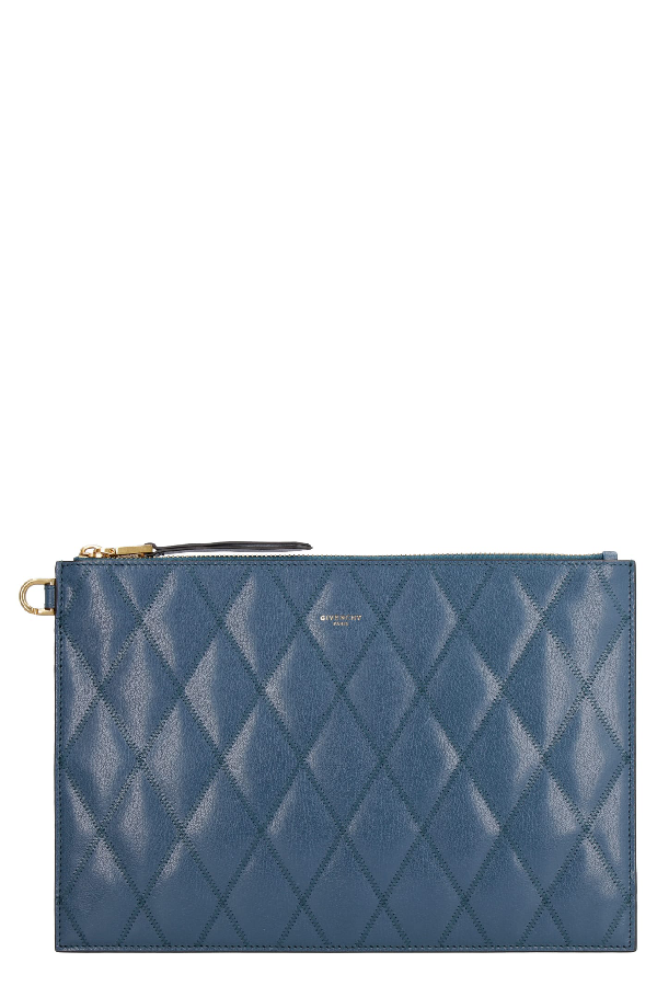 Givenchy Leather Flat Pouch In Blue