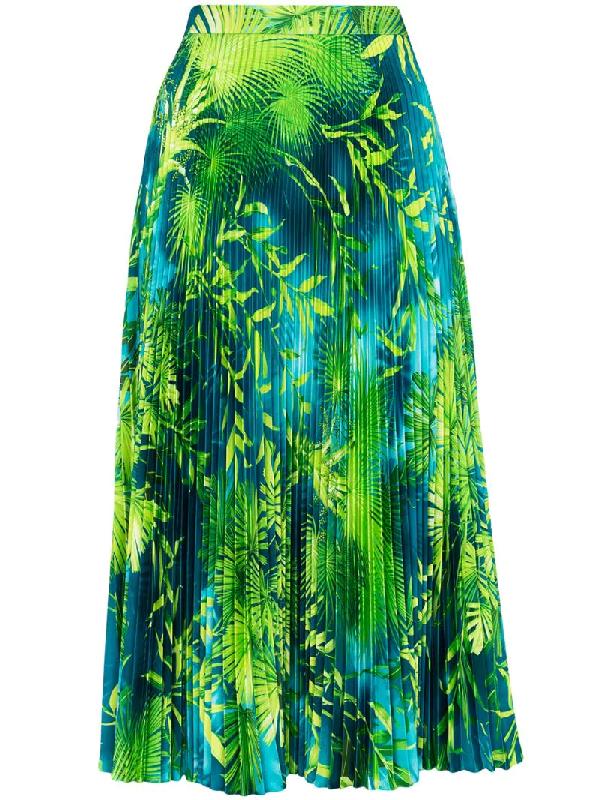 Versace Palm Leaf-print Pleated Satin Midi Skirt In Green