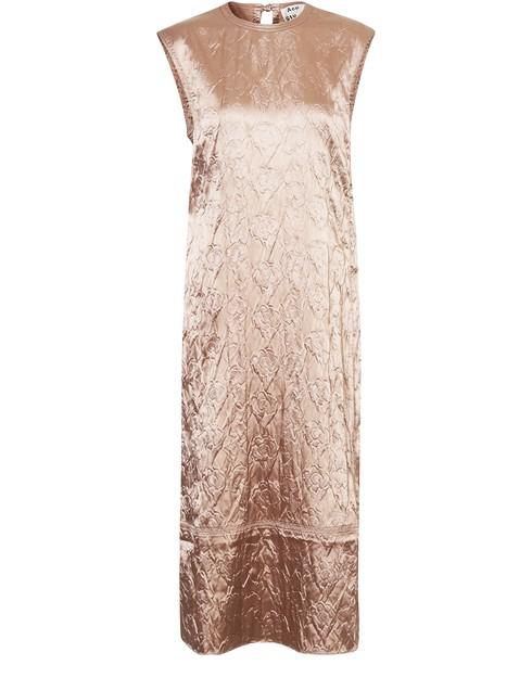 Acne Studios Flower-embossed Satin Dress Old Pink