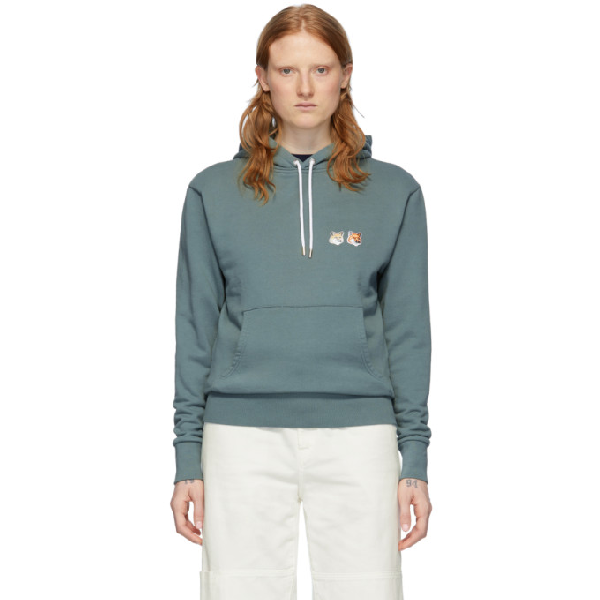 Maison KitsunÉ Maison Kitsune Green Double Fox Head Hoodie In Blgn Bluegr