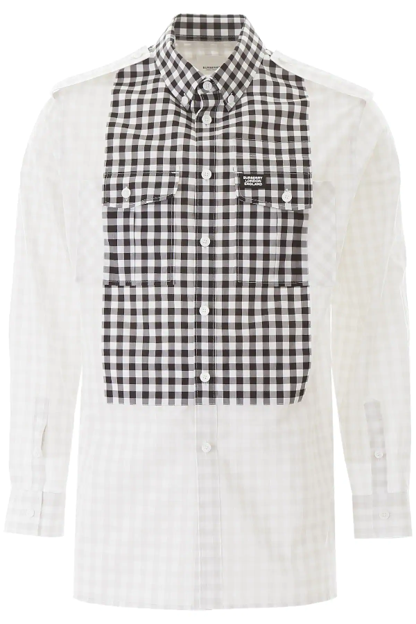 Burberry Contrast Bib Gingham Cotton Poplin Oversized Shirt In Grey