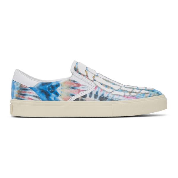 Amiri Skel-toe Tie-dye Canvas And Leather Slip-on Sneakers In 白色