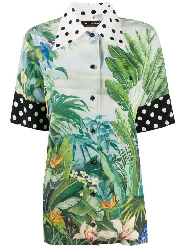 Dolce & Gabbana Mixed Polka Dot And Leaf Print Cotton Shirt In White