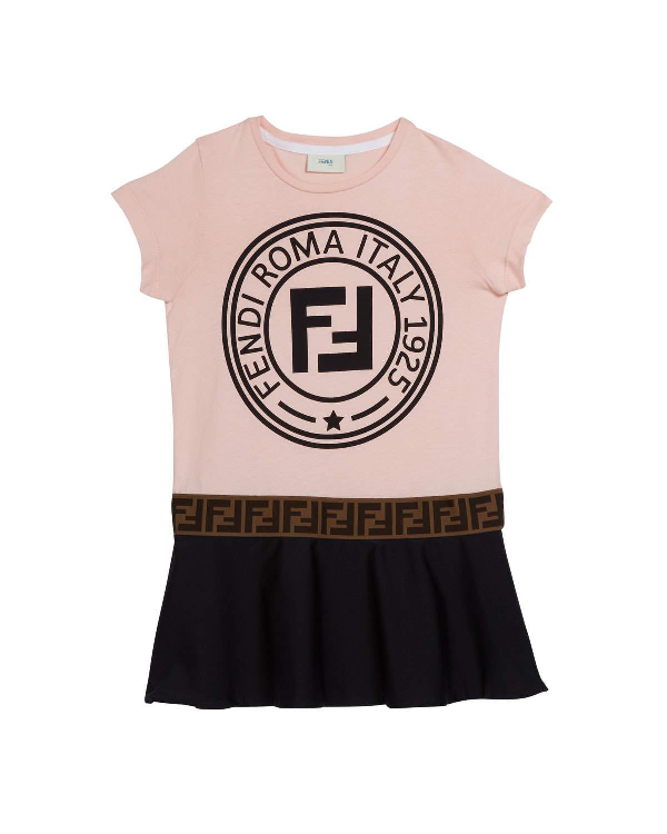 Fendi Kids' Colorblock Logo Short-sleeve Dress In Pink,black