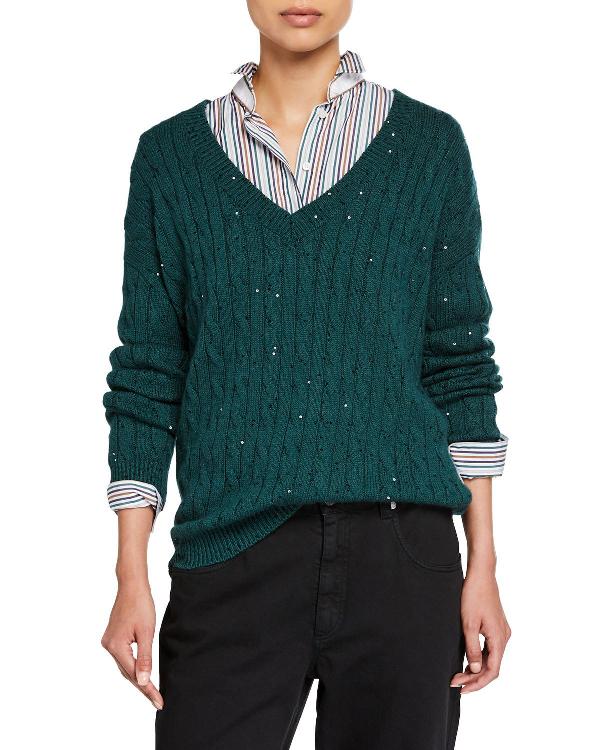 Brunello Cucinelli Cashmere & Silk Paillette Cable Knit Sweater In Green