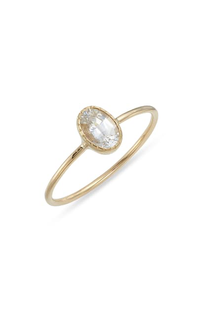 Jennie Kwon Designs White Sapphire Ring In Yellow Gold