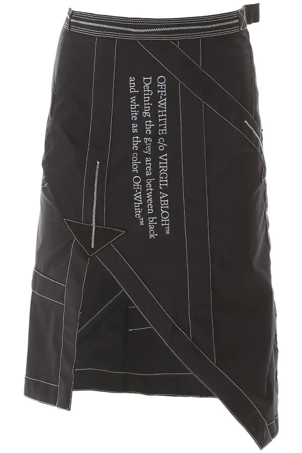 Off-white Black And White Asymmetric Slit Skirt