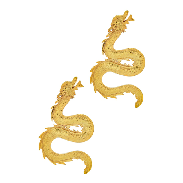 Natia X Lako Large 24kt Gold-plated Dragon Earrings