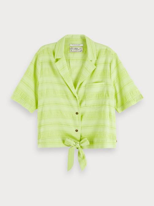Scotch & Soda Cotton Silk Hawaii Shirt In Green