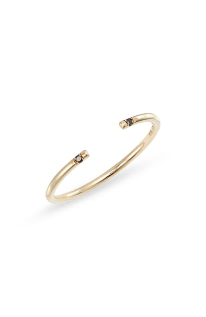 Jennie Kwon Designs Black Diamond Open Band Ring In Yellow Gold