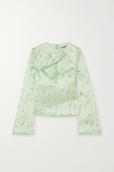 Ganni Cutout Ruched Floral-print Stretch-silk Satin Top In Light Green