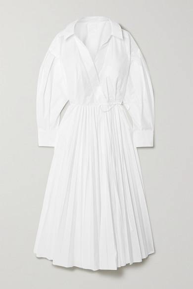 Valentino Pleated Cotton-blend Poplin Shirt Dress In White