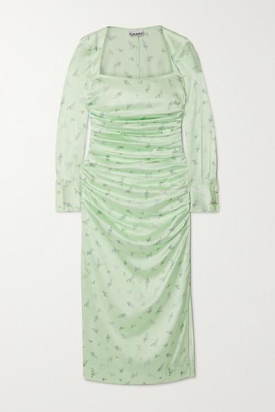 Ganni Ruched Floral-print Stretch-silk Satin Midi Dress In Light Green