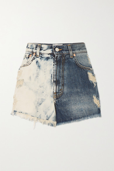 Givenchy Distressed Tie-dyed Denim Shorts In Blue