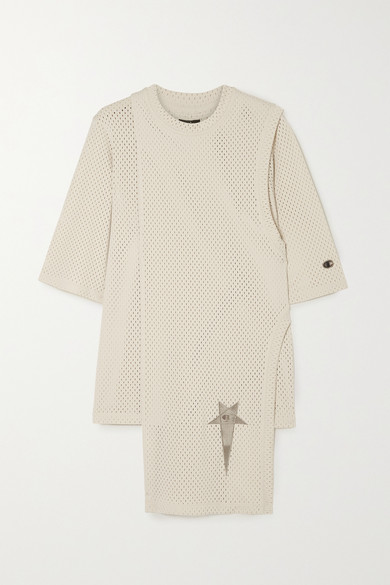 Rick Owens Champion Toga Layered Embroidered Mesh T-shirt In Cream