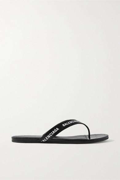 Balenciaga Logo-print Croc-effect Leather Flip Flops In Black